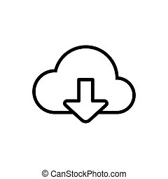 thin line download from cloud icon