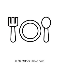 Thin line eating utensils icon