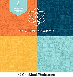 Thin Line Education Science School Patterns Set
