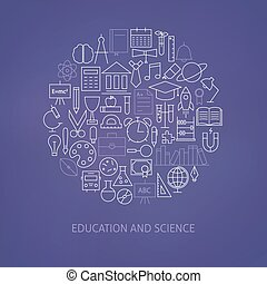 Thin Line Education Science School Icons Set Circle Shaped Concept