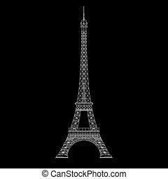 Thin line Eiffel tower illustration