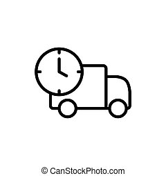 line fast delivery truck icon on white background