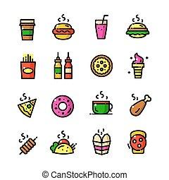 Thin line Fast food icons set, vector illustration