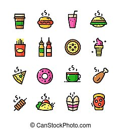 Thin line Fast food icons set, vector illustration