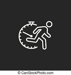 line fast running man icon on dark background