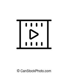 line filmstrip video icon on white background