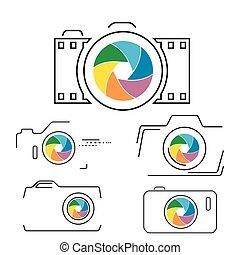Thin line, flat camera icon
