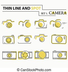 Thin line, flat camera icons