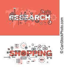 Thin line flat design banners - Set of modern vector...