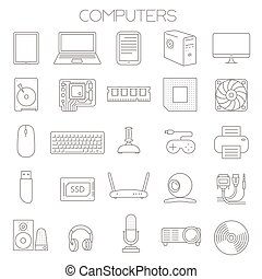computer service and parts vector icon set.