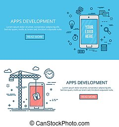 Thin line flat design mobile development. Vector banner set.