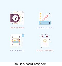 Thin line flat design of printing process steps, print design project, printing industry.