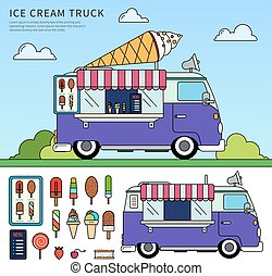 Thin line flat design of the ice cream truck. Snack concept. Ice cream truck on the street against blue sky, ice cream, car, adds, lollipops isolated on white background