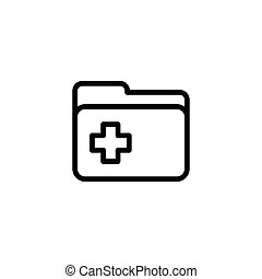 line folder icon on white background
