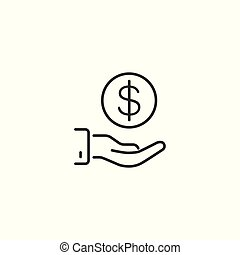 line funding icon on white background