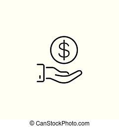 line funding icon on white background