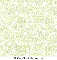 Thin Line Garden and Flowers White Seamless Pattern