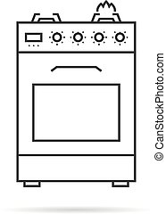 thin line gas stove icon with shadow
