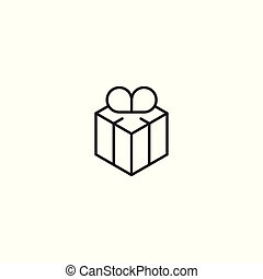 line gift icon on white background