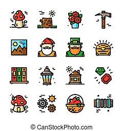 Thin line Gnome icons set, vector illustration