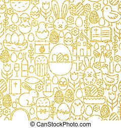 Thin Line Gold Happy Easter Seamless Pattern