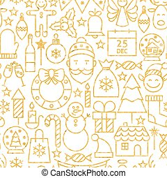 Thin Line Gold Merry Christmas Seamless Pattern