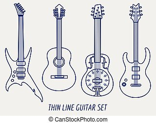 Thin line guitars on grey background