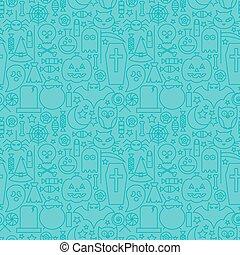 Thin Line Halloween Holiday Seamless Blue Pattern