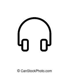 line headphones icon on white background
