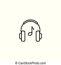 line headphones playing music icon on white background