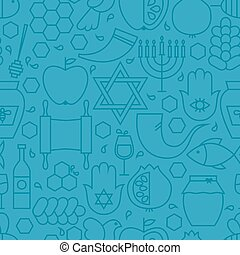 Thin Line Holiday Rosh Hashanah Blue Seamless Pattern....
