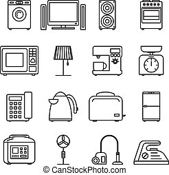 Thin line home appliances icons, household outline. Stroke vector signs.