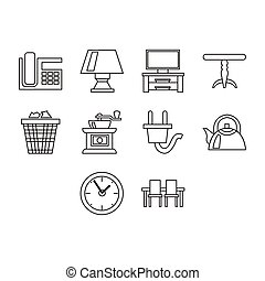 Thin line home icon set