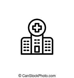 line hospital icon on white background