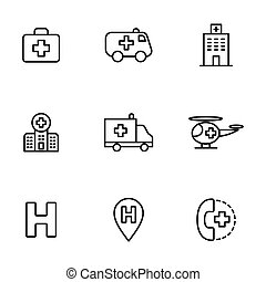 hospital icons set on white background