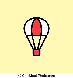 hot air balloon icon thin line on color background