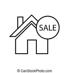 Thin line house for sale sign icon