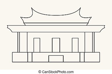 Thin line icon of the Temple of Confucius