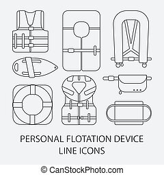 Thin line icon set Life jackets vector icons - Thin line...