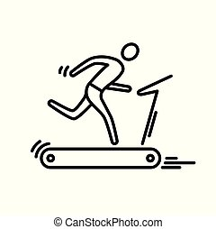 Thin line icon. Treadmill running man cardio workout.