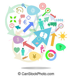 thin line icon with flat design element of business chart, success corporation stats, corporate data, market analysis, pie graph, development prospects. Modern style