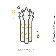 Thin line icons, Asparagus