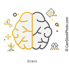Thin line icons, Brain