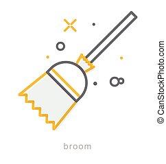 Thin line icons, Broom