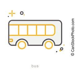 Thin line icons, Bus