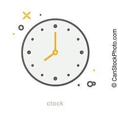 Thin line icons, Clock