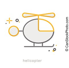 Thin line icons, Helicopter