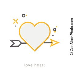 Thin line icons, Love heart