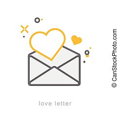 Thin line icons, Love letter