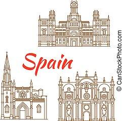Thin line icons of Spanish landmarks